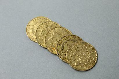 Lot de cinq pièces en or de 20 francs comprenant...
