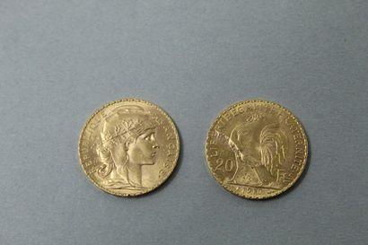 Lot de deux pièces en or de 20 francs Coq...