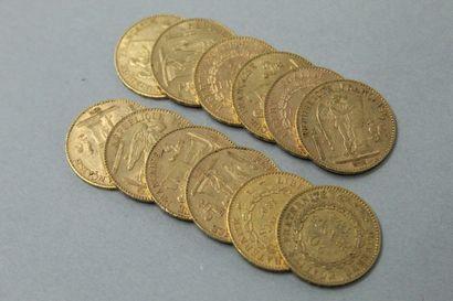 Douze pièces en or de 20 francs Génie IIIè...