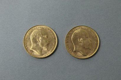 Deux Souverain en or Edward VII (1908).  Petits...