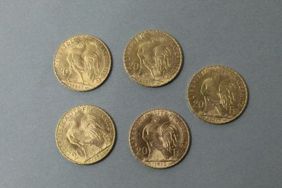 Cinq pièces en or de 20 Francs au Coq (1910,...
