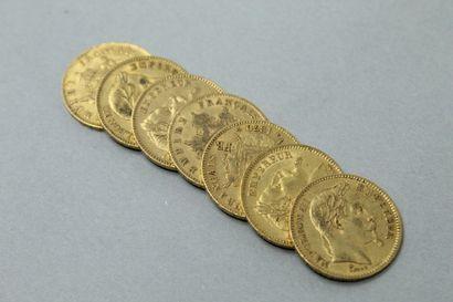 Sept pièces en or de 20 francs Napoléon III...