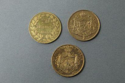 Lot de pièces d'or comprenant :  3 Pièce...