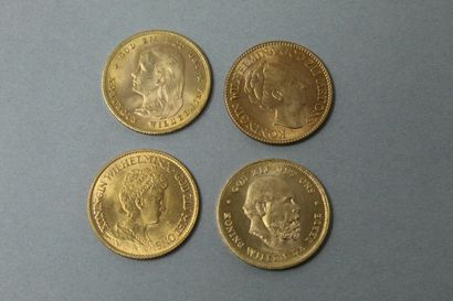 Lot de pièces d'or comprenant :  - 10 Gulden...