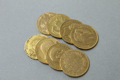 Lot de huit pièces en or de 20 francs comprenant...