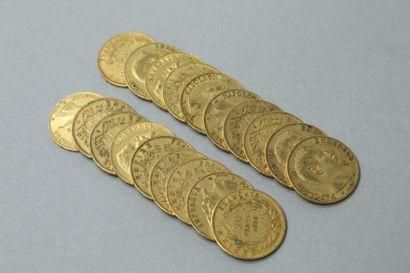 Dix-neuf pièces en or de 20 francs Napoléon...