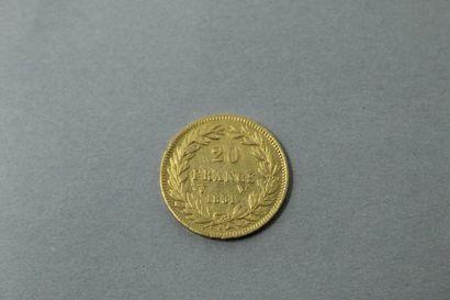 Pièce en or de 20 Francs Louis XVIII 1831...