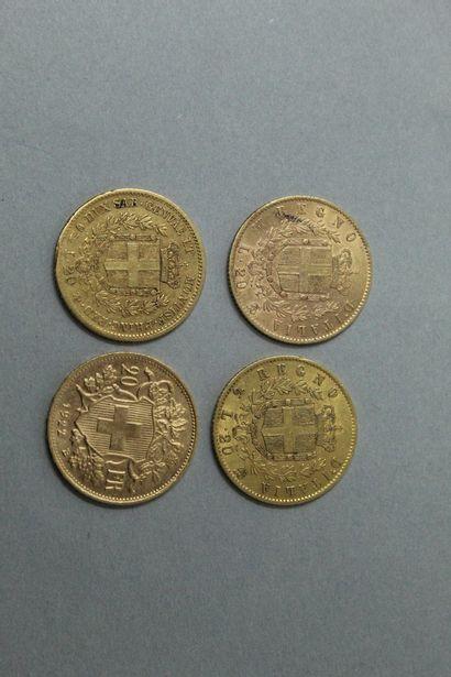 Lot de quatre pièces en or comprenant :  -...