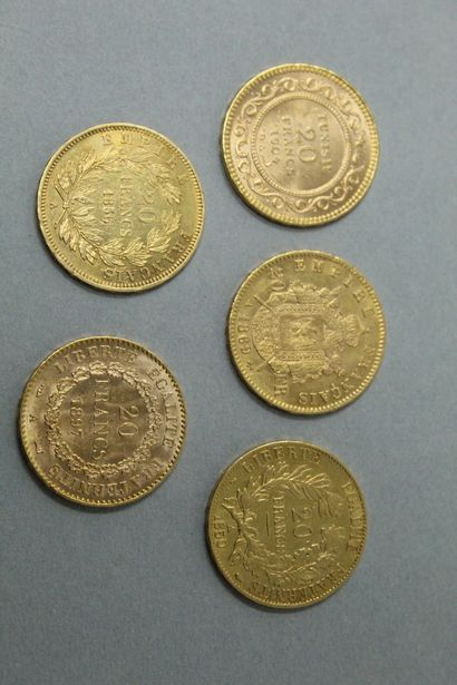 Lot de pièces d'or comprenant :  - 20 Francs...
