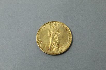 Pièce en or de 100 lires Pie XI (1932)  TTB...