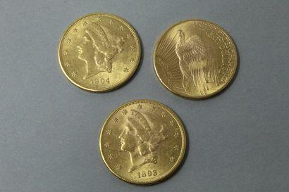 Trois pièces en or de 20 dollars comprenant...