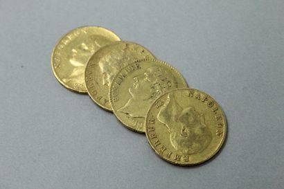 Lot de quatre pièces en or de 40 francs comprenant...