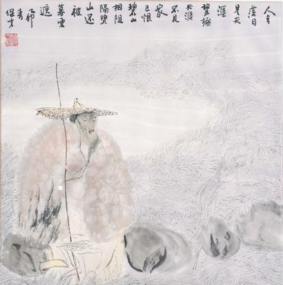 CHINE, XXème siècle  Encre sur papier, pêcheur....