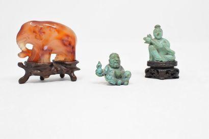 CHINE, XXème siècle  Lot comprenant un éléphant...