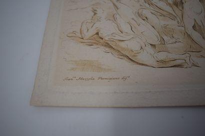 Fra. Mazzola dit Parmigianino (D'après)  Groupe de quatre hommes musiciens  Gravure...