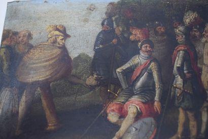 ECOLE FLAMANDE Premier tiers du XVIIe siècle  1 - Scène dans une ville des Flandres...