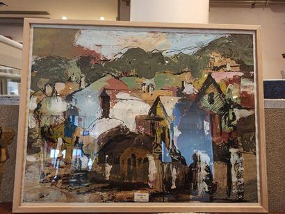 Olivier CALEMARD « Village » Technique mixte...