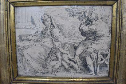 D'après Girolamo MAZZOLA BEDOLI (c.1500-1569),  Saint Joseph et la Vierge assis...