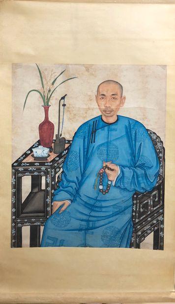 CHINE - XXe siècle  Encre et couleurs sur...