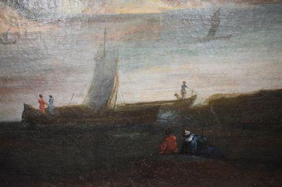 ÉCOLE FRANCAISE du XVIII siècle    Paysage à la rivière avec couple de promeneurs...