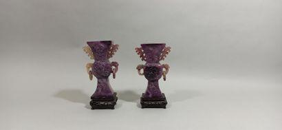 CHINE - XXe siècle  Deux vases cornets en...
