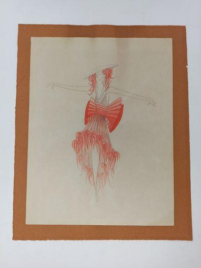 ANONYME, XXe SIECLE,  Ensemble de 6 projets de costumes pour l'Opéra de Paris  Aquarelle...