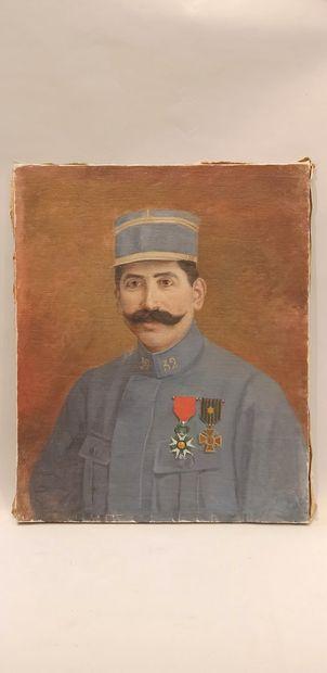 H. LANDAIS  « portrait d'un commandant en tenue bleu horizon »  huile sur toile...