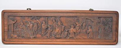 CHINE, XIXe siècle  Suite de trois panneaux...