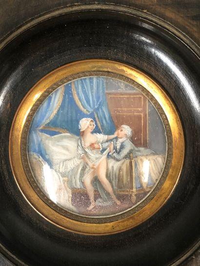 Dans le goût du XVIIIe siècle,  Scène galantes  Deux miniatures peints à la gouache...