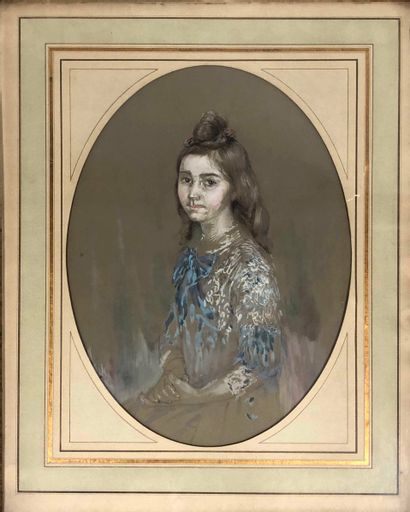 ANONYME, fin XIXe siècle,  Portrait de jeune fille au chignon,crayon noir et gouache...