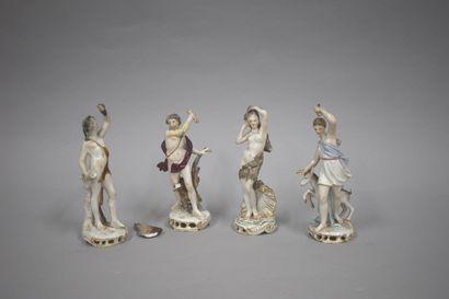 France Samson fin 19e  4 statuettes en porcelaine...
