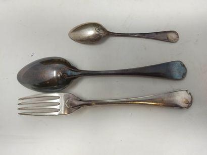 CHRISTOFLE    Ménagère en métal argenté composée de 12 fourchettes, 12 cuillères,...