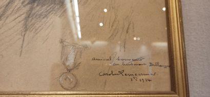 ECOLE XXe siècle,  Portrait du lieutenant Bellanger,  dessin, signé et dédicacé...