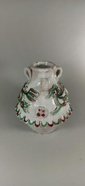 CALLIS (1946 -1952)  Vase à décor d'oiseaux....