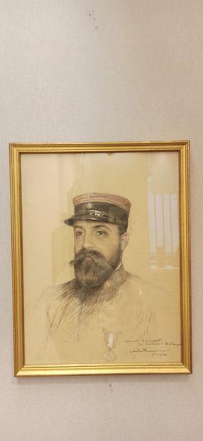 ECOLE XXe siècle,  Portrait du lieutenant...