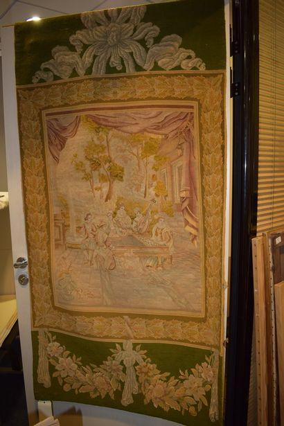 Deux tapisseries en pendant représentant...