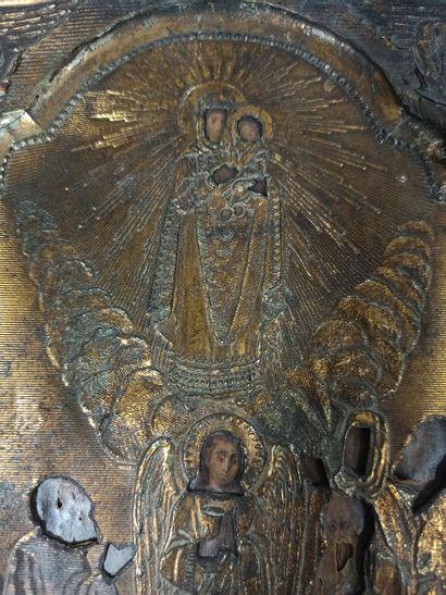 Louanges à la Mère de Dieu  Russie XXe siècle  Sur papier collé et métal  23 x1...