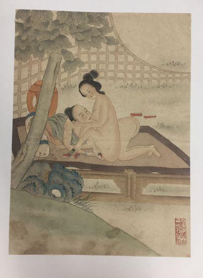 CHINE, XXème siècle  Trois aquarelles érotiques...