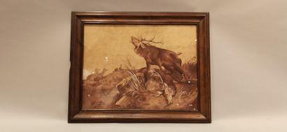 G. COQUARD (XXe), d'après ROTIG,  Brame du triomphe,  toile marouflée sur carton,...