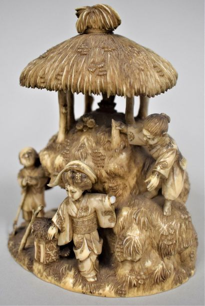 JAPON - Epoque MEIJI (1868 - 1912)  Okimono,...
