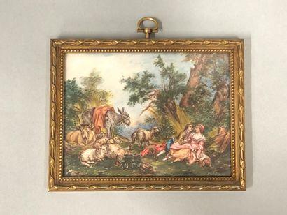 Jean-Baptiste HUET (1745-1811), D'après,  Scènes galantes dans des paysages champêtres,...