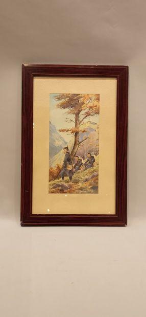 A. BERNARD, ECOLE FRANCAISE FIN XIXeme SIECLE,  « Trois chasseurs à pied au repos...