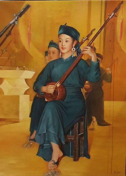 ECOLE MODERNE  Musiciennes asiatiques,  peinture...