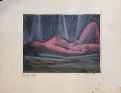 SOTERAS Georges (1917-1990)  Caresses,  gouache...