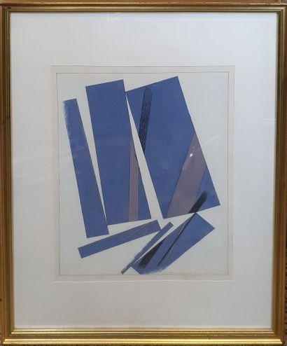 LOEWER Claude (1917-2006)  Composition bleue,...