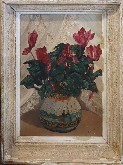 CORRE H. (XX-XXIeme)  Cyclamen dans un vase...