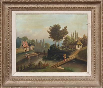 ECOLE XIXème siècle  Femmes au ruisseau,...