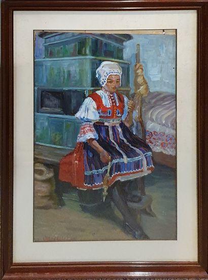 MOLITOR Otto (1889-?)  La fileuse  Huile...