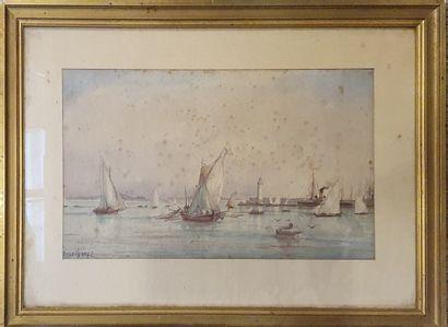 HENRY Émile (1842-1920)  Vue du port,  Aquarelle...