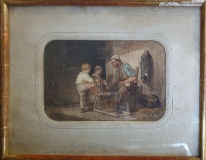 ECOLE XIXème siècle  Le Rempailleur et ses...